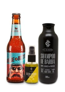 Kit de Presente Masculino: Shampoo Barba 200ml + Óleo Barba Exclusivo Bastards 30ml + Cerveja APA Bastards CIA. DA BARBA