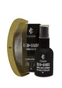 Kit para a Barba: Óleo de Barba + Pente CIA. DA BARBA