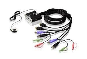 CS692 Switch USB HDMI/Cabo Audio KVM de 2 portas com seletor de porta remota