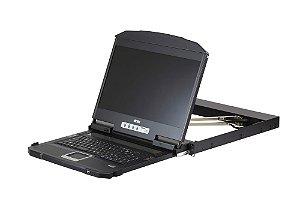 CL3800 Console LCD widescreen de trilho duplo de profundidade ultra curta de 1U (USB / HDMI / DVI / VGA)