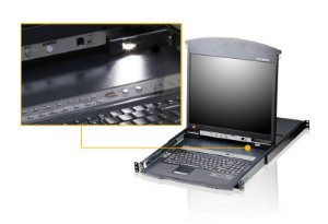 KL1508A Comutador KVM LCD de trilho duplo Cat 5 de 8 portas com porta de ligação em cadeia