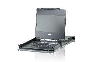 CL5800 Console de LCD de trilho duplo PS / 2-USB VGA com suporte a periféricos USB