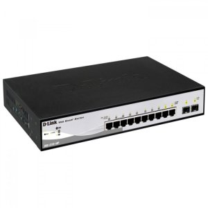 Switch c/ 8 portas 10/100/1000Mbps PoE + 2 SFP 100/1000Mbp (Potencia PoE: 65Watts)  D-Link / DGS-1210-10P