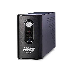 91.A0.010505 Nobreak NHS Compact Senoidal 1000VA E.Bivolt S.120V ou Conf 220V Bat 2x7Ah/24V USB 8 tomadas