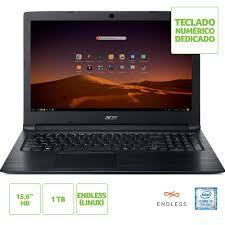 NX.HFMAL.001 Notebook Acer A315-53-343y Intel Core I3-7020u 4gb 1tb 15,6 Endless OS (Linux) Preto
