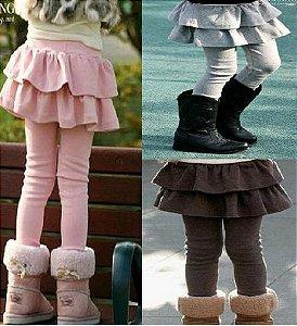 Calça Legging com sainha - super quente! - 3 a 12 anos