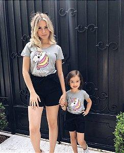 Tee Shirt Unicórnio Gray -Versão Mãe