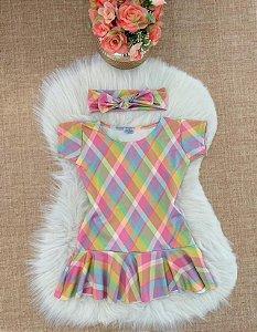 Vestido Xadrez Colorido com faixinha turbante