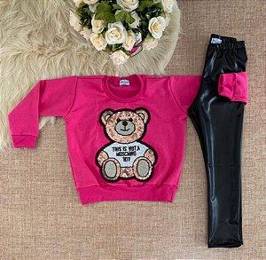 Conjunto de frio Blusa Ursinho Toy com legging