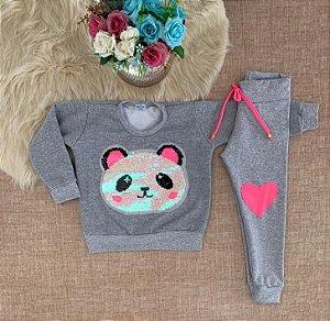 Conjunto de frio Blusa Urso Panda com legging neon