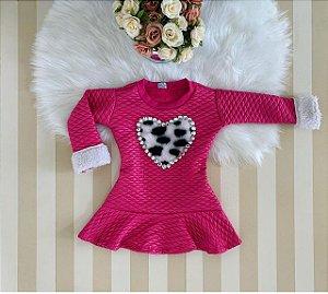 Vestido manga longa Pink matelasse