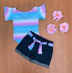Conjunto Sereia tie dye Body e Shorts