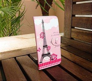 Case Couro Rosa Torre Eiffel Samsung