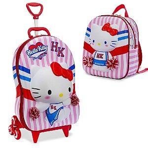 Mochila Escolar de Rodinhas Hello Kitty 3D  lancheira Maxtoy