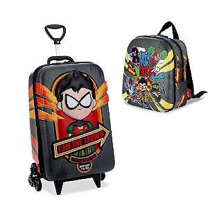 Mochila Escolar de Rodinha Robin Teen Titans GO Maxtoy