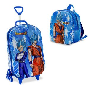 Mochila Escolar Rodinhas Dragon Ball Super Saiyajin Maxtoy