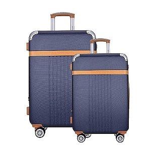 Kit Mala de Viagem Pequena e Media Santino Athena Cor Azul