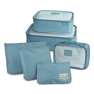 Kit Organizador de Malas com 6 Peças Jacki Design Cor Azul