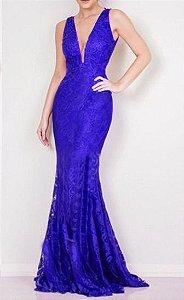 Vestido Longo Festa Madrinha Casamento Renda Guipir Azul Royal