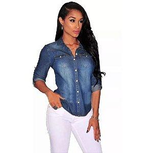 Camisa Jeans Feminina Azul manga longa
