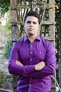 Camisa social masculina manga longo Roxa original