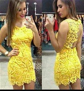 Vestido amarelo Curto Festa Balada Blogueira Panicat Renda Guipir
