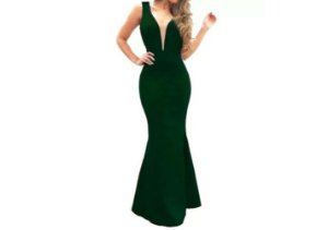 Vestido de Festa Longo estilo sereia verde escuro decote em V