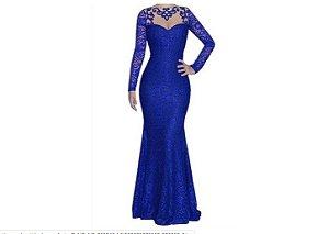 vestido manga longa de tule bordado de festa Azul Royal