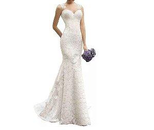 vestido de noiva sereia com renda e tule