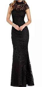 vestido de festa Renda Guipir madrinha casamento formatura preto