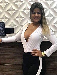 Body Feminino manga longa decote profundo Branco