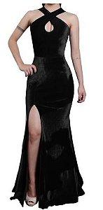 vestido longo fenda estilo sereia veludo Preto