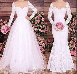 Vestido de Noiva Longo renda Organza manga longa 2 modelos em 1