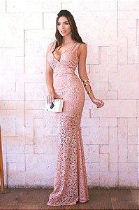Vestido Rosê Longo Estilo Sereia Madrinha casamento em renda