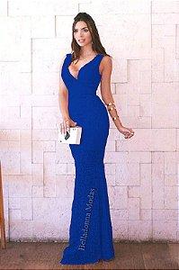 Vestido Longo Festa Azul Royal Madrinha casamento em Renda