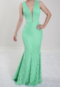 Vestido verde Tiffany Longo Festa Madrinha de Casamento em renda