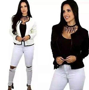 Blazer Feminino Slim  Jaqueta Casaco Preto Branco