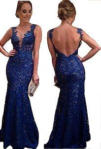 Vestido Longo Em Renda Azul Royal de Festa Casamento Madrinha Estilo Sereia