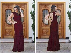 f73e4443261 Vestido Longo Em Renda, Festa Madrinha Formatura Casamento Marsala