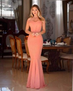dfbe072cd Vestido Rose Longo Sereia Ombro a Ombro Madrinha casamento Formatura