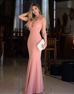 Vestido Longo Sereia Festa Madrinha de casamento Decote v Rosê