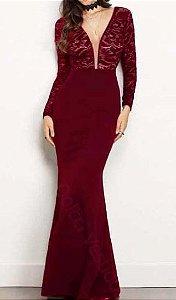 vestido madrinha manga longa cor marsala