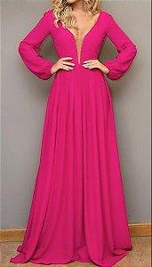 Vestido Longo Gode manga longa Festa Madrinha casamento Rosa Pink