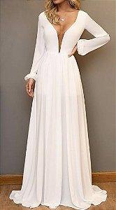 Vestido Longo Gode manga longa Festa Madrinha casamento Branco