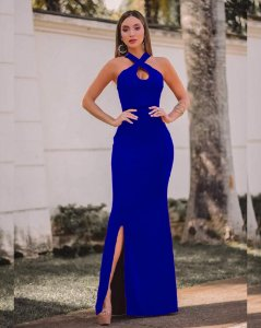 Vestido Longo Festa Azul Royal Fenda Madrinha de casamento Formatura