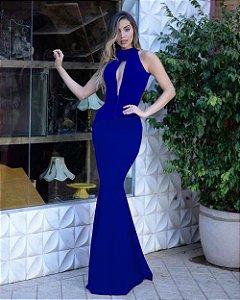 Vestido de Festa Longo Azul Royal Madrinha Formatura decote com tule