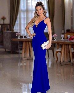 Vestido Longo sereia azul Royal Festa madrinha casamento alça fina decote com tira