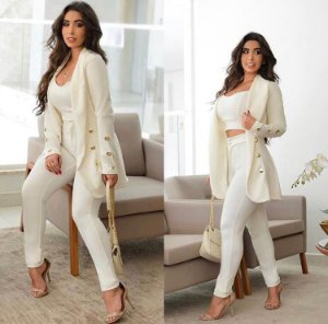 conjunto blazer Feminino jaqueta Calça Top
