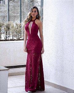 Vestido Marsala Longo Renda Sereia  Decote Tule Festa Madrinha casamento