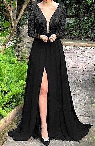 Vestido Preto Fenda Longo Festa Madrinha casamento Formatura